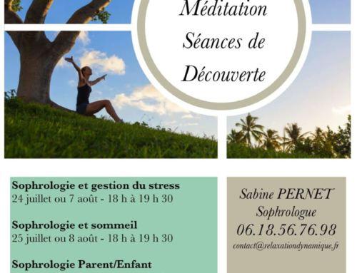 Séances de découverte : Gestion du stress, sommeil, méditation – La Couture juillet/août